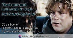 There's some good in this world, Mr. Frodo. And it's worth fighting for. C'è del buono in questo mondo, padron Frodo. È giusto combattere per questo.